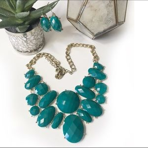 Charming Charlie Teal Stone Earring + Necklace